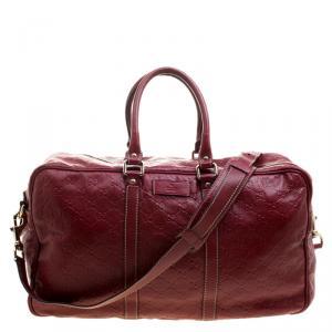 Gucci Red Guccissima Leather Duffel Bag