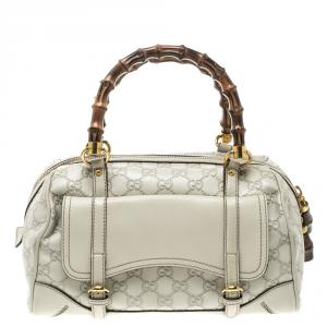 Gucci Off White Guccissima Leather Medium Bamboo Boston Bag