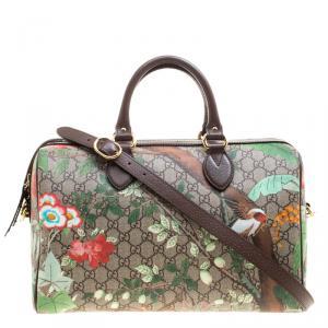 Gucci Beige/Brown Tian Print GG Supreme Canvas Medium Boston Bag