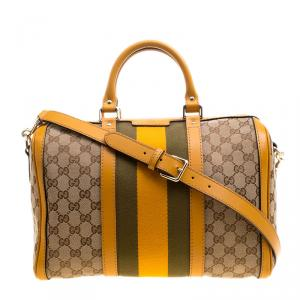 Gucci Beige/Tan GG Canvas Medium Vintage Web Boston Bag