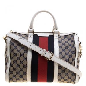 Gucci White/Blue GG Canvas Medium Vintage Web Boston Bag