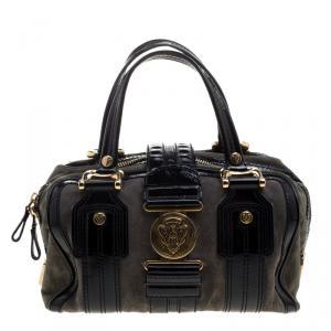 Gucci Black/Khaki Patent Leather and Suede Aviatrix Boston Bag