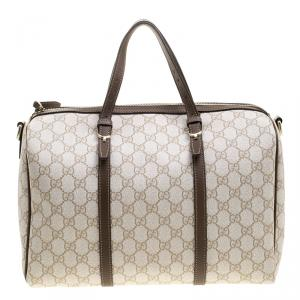 Gucci Beige GG Supreme Canvas Nice Boston Bag