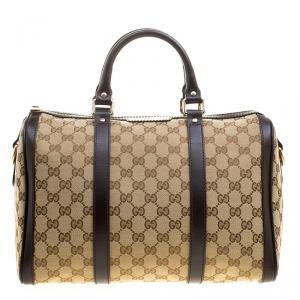 Gucci Beige/Brown Canvas Web Original GG Boston Bag