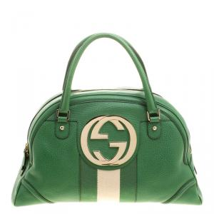Gucci Green Leather Vintage Web Interlocking GG Bowling Bag