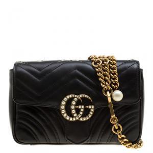 Gucci Black Matelassé Leather Mini Pearl Studded GG Marmont Waist Belt Bag