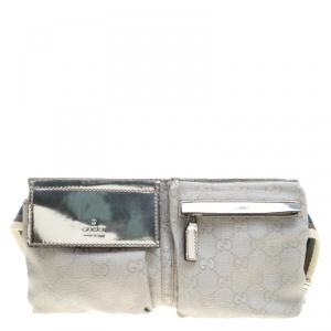 Gucci Silver GG Canvas Waist Belt Bag
