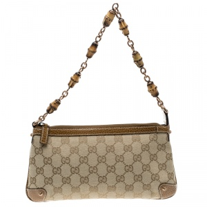 Gucci Beige/Camel GG Canvas Bamboo Accessories Pochette