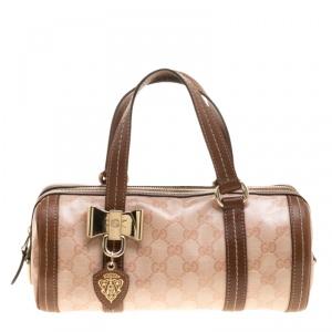 Gucci Pink/Brown GG Crystal Canvas Small Duchessa Boston Bag