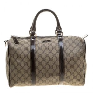 Gucci Beige/Brown GG Supreme Canvas and Leather Medium Joy Boston Bag
