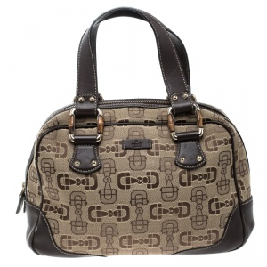 Gucci Beige/Brown Horsebit Canvas and Leather Boston Bag