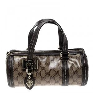 Gucci Beige/Ebony GG Crystal Canvas Small Duchessa Boston Bag