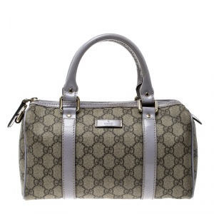 Gucci Beige/Lilac GG Supreme Canvas and Leather Small Joy Boston Bag