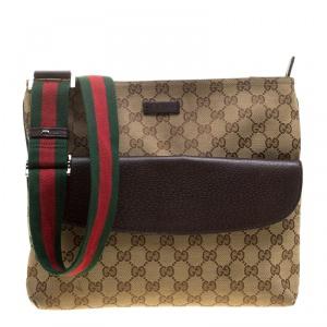 Gucci Beige/Brown GG Canvas Web Messenger Bag