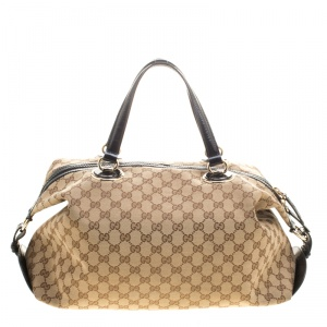 Gucci Beige/Black GG Canvas and Leather Medium Full Moon Boston Bag