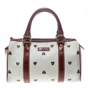 Gucci Off White/Red Coated Canvas and Patent Leather Joy Heart Boston Bag