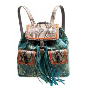 Gucci Multicolor Python Bamboo Drawstring Backpack