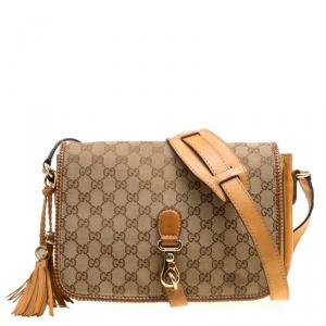 Gucci Beige/Brown GG Canvas Medium Marrakech Tassel Messenger Bag