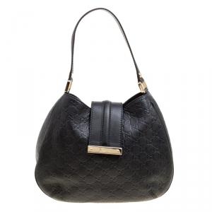 Gucci Black Guccissima Leather Small New Ladies Vintage Web Hobo