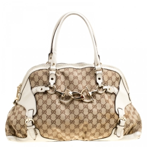 Gucci Beige/White GG Canvas and Leather Medium Horsebit Nail Dome Satchel