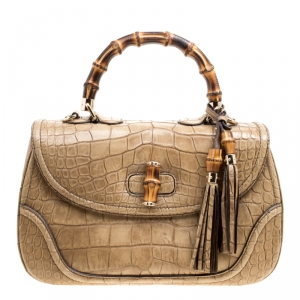 Gucci Beige Crocodile Leather Large New Bamboo Satchel