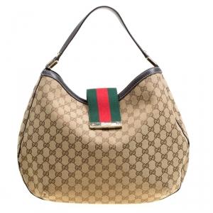 Gucci Beige/Ebony GG Canvas Medium New Ladies Web Hobo