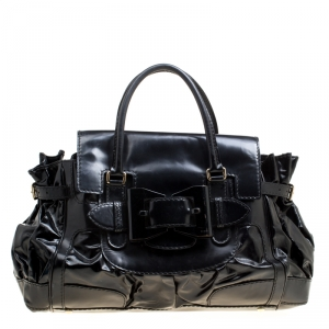 Gucci Black Coated Canvas and Leather Large Queen Satchel