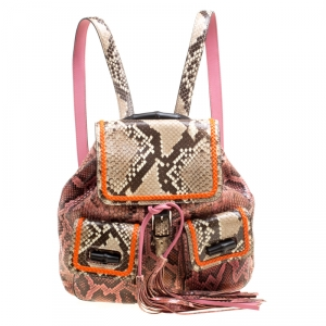Gucci Pink/Multicolor Python Bamboo Drawstring Backpack