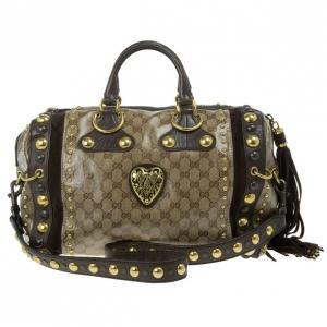 Gucci Babouska Crystal GG Crest Boston Bag