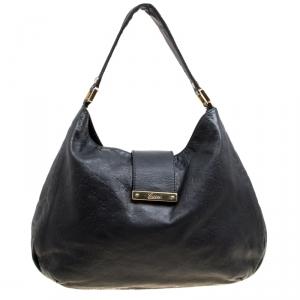 Gucci Black Leather Large Ladies Web Hobo