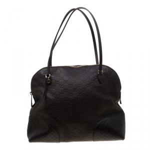 Gucci Brown Guccissima Leather Bree Dome Satchel