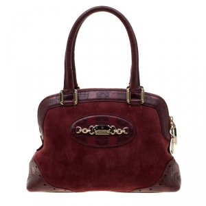 Gucc Burgundy Suede and Horsebit Embossed Leather Small Satchel