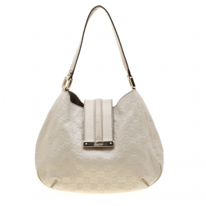Gucci Off White Guccissima Leather Small New Ladies Vintage Web Hobo