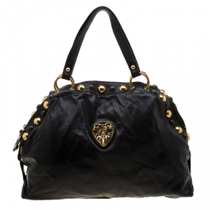 Gucci Black Leather Hysteria Studded Dome Satchel