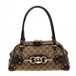 Gucci Beige/Ebony GG Canvas Wave Boston Bag