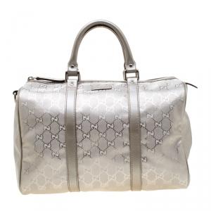 Gucci Grey Metallic GG Supreme Canvas and Leather Medium Joy Boston Bag