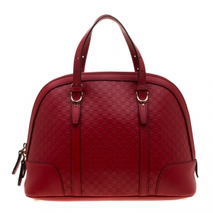 Gucci Red Microguccissima Leather Nice Dome Satchel