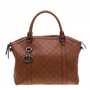 Gucci Brown Guccissima Leather GG Charm Dome Satchel