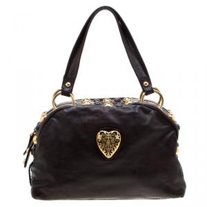 Gucci Dark Brown Leather Medium Babouska Heart Dome Satchel