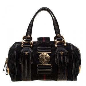 Gucci Black GG Canvas and Leather Medium Aviatrix Boston Bag