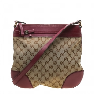 Gucci Beige/Burgundy GG Canvas and Leather Mayfair Bow Crossbody Bag