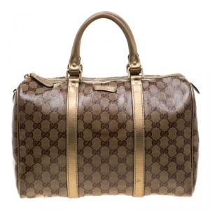 Gucci Gold GG Crystal Canvas Medium Joy Boston Bag
