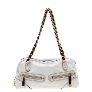 Gucci Ivory Leather Capri Bowler Bag