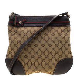 Gucci Beige/Brown GG Canvas and Leather Mayfair Bow Crossbody Bag