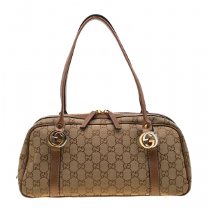 Gucci Beige/Bronze GG Canvas and Leather GG Twin Boston Bag