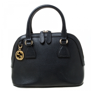 Gucci Black Pebbled Leather 2 Way Convertible Satchel