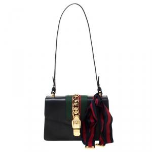 حقيبة كتف غوتشي سيلفي سلسلة متشابكة صغيرة جلد أسود