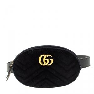 Gucci Black Velvet and Leather GG Marmont Matelasse Belt Bag
