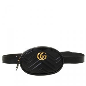 Gucci Black Leather GG Marmont Matelassé Belt Bag
