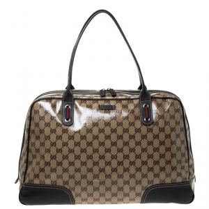 Gucci Beige/Brown GG Crystal Canvas and Leather Princy Satchel